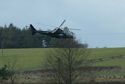 A helicopter dices with cables near Barrasford in Northumberland